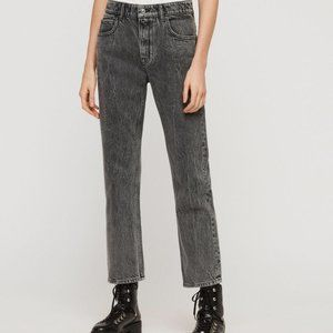 AllSaints Ava Straight Jean in Washed Black 28